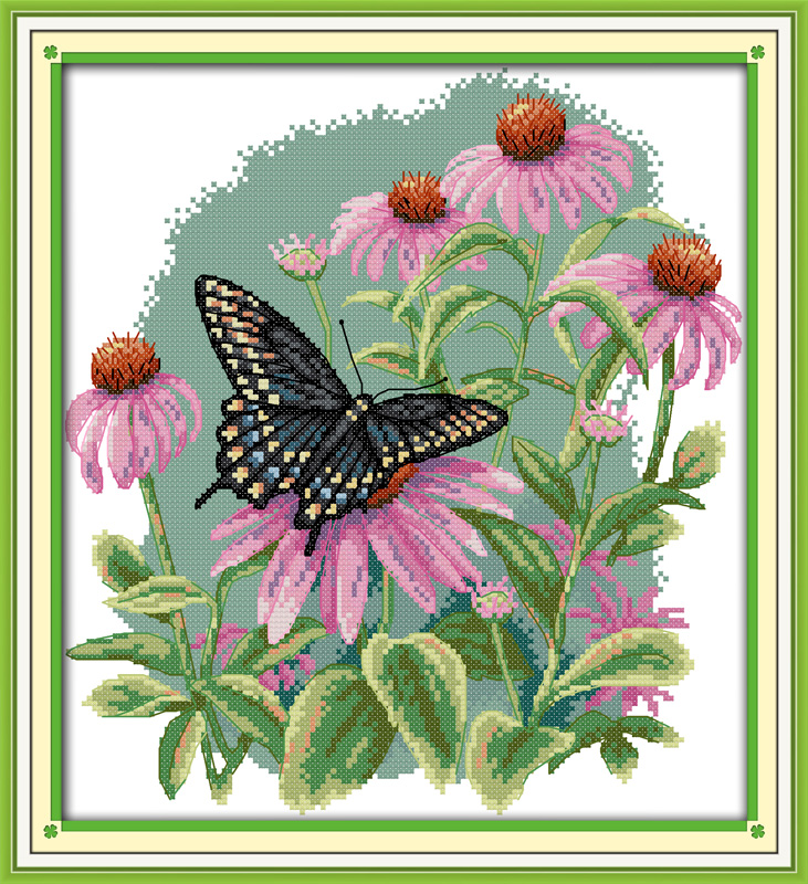 Butterfly over flowers (7) cross stitch kit 14ct count canvas x stitching material craft embroidery DIY handmade needlework plus