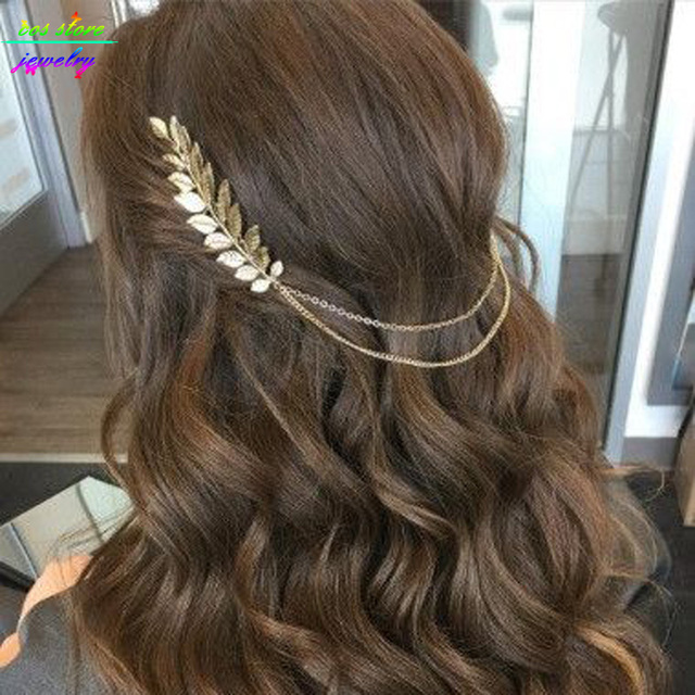 3 Styles ! 2017 Summer Style Bohemia Leaves Head Crown Gold/Silver Chain And Leaves Hair Comb Wedding Hair Accessories Bijoux