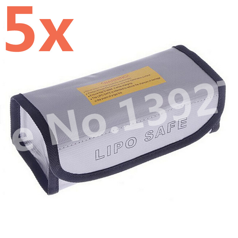 5Pcs Arrowmax RC Square LiPo Safe Bag Battery Safety Li-Po Protect Bag Pouch Safe Guard Charge Sack 185 X 75 X 60 mm AM-199502