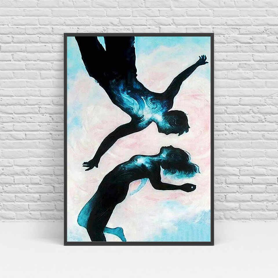 الشمالي جدار فن الباليه الرقص قماش اللوحة جدار غرفة المعيشة الاسكندنافية الملصقات والمطبوعات unframed