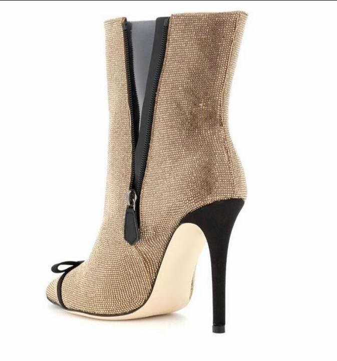 new design well known buying new Big Sale #5c4e - New Designer Gold Crystal Women High Boots ...