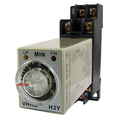 AC 220V 0-30 Minute 30m Timer Power On Delay Time Relay 8 Pin H3Y-2 w Socket 5 pieces h3y 2 power on time delay relay solid state timer max 30m 220vac dpdt