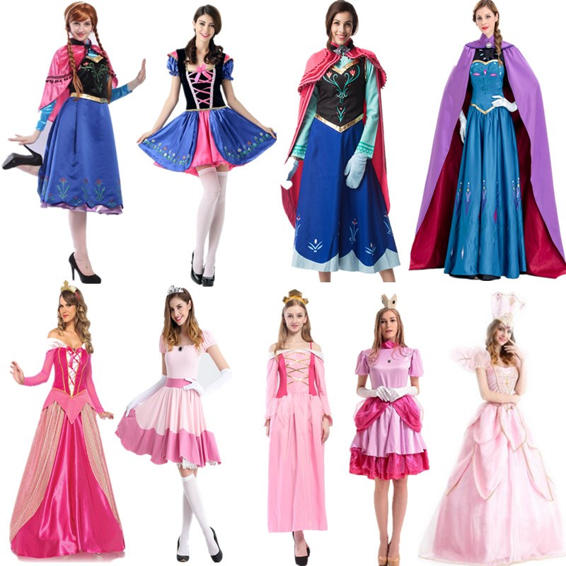2019 New Adult Anna Princess Dress Queen Anna Costume Grow Princess Briar Rose/Aurora Cosplay Costume For Women Halloween Costum