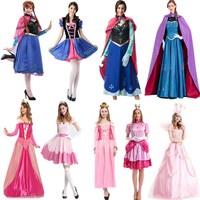 2019 New Adult Anna Princess Dress Queen Anna Costume Grow Princess Briar Rose/Aurora Cosplay Costume for Women Halloween Costum