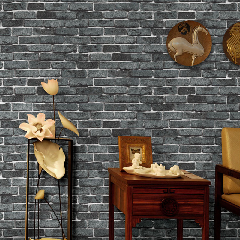 Retro 3D PVC Embossed Brick Stone Pattern Wallpaper Home Decor Vinyl Wallpaper Living Room Bedroom TV Background Wall Covering fashion letters and zebra pattern removeable wall stickers for bedroom decor