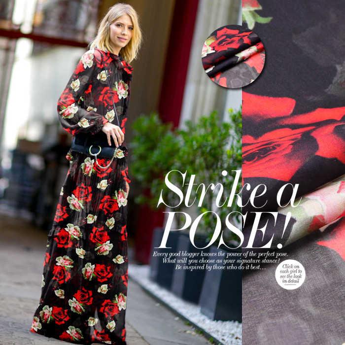 135 см, ширина 8 мм, принт с красными розами черный тонкий Шелковый шифон ткань для лето и короткое платье рубашка одежда D523