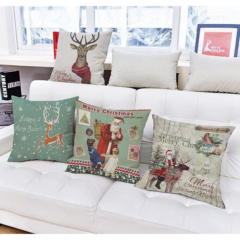 Creative Christmas Old Man Elk Printing Linen Pillow Pillows Decorate Pillow  Cushion Office Sleeping Pillow Customization