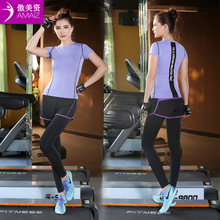 Fitness Workout Clothing And Women's Gym Sports Running Girls Slim Leggings+Tops Women Yoga Sets shirt+Pants Sport Suit Female