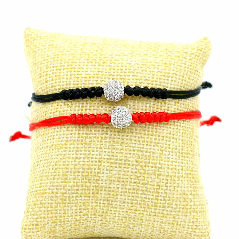 Red String Charm Bracelets For Women Micro Pave Mosaic Zircon Ball Lucky Rope Thread Braid Bracelet Girl Jewelry Gifts