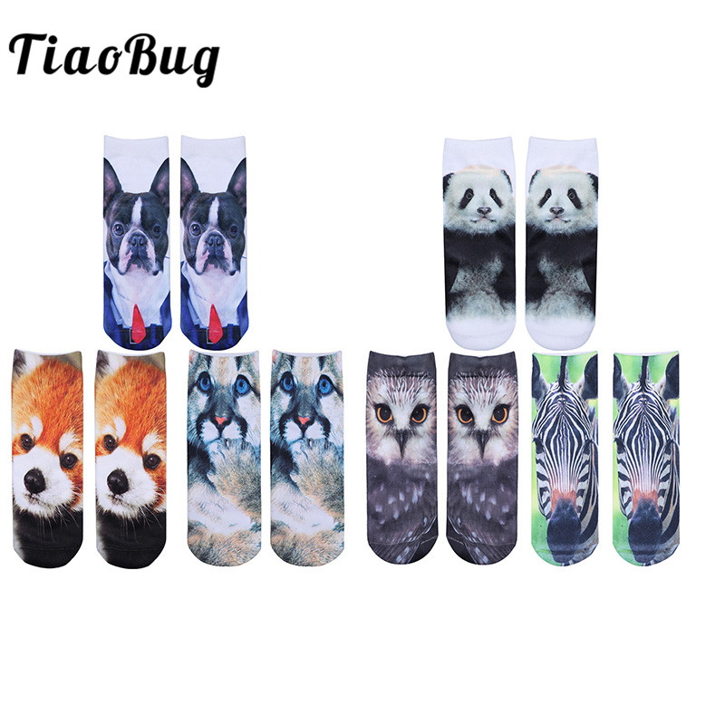 TiaoBug 3 Pairs/Pack Summer Unisex Funny Kawaii Cartoon Animals Cotton Short Ankle Socks Cute Panda Dog Owl Couple Boat Socks