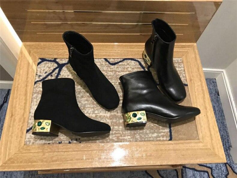 Zapatos Genuino Botas As Preciosas Caballero De Bottine Negro Mujeres Tacón Cuero Metal Calle Mujer Vendimia Joya Marca Pic Piedras La qaYwSzC