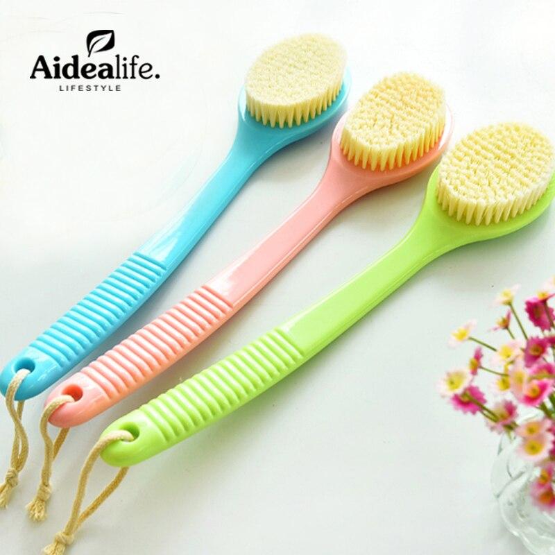 1 개 목욕 청소 마사지 브러쉬 긴 핸들 드라이 브러쉬 각질 제거제 제거기 캔디 컬러 꽃 목욕 액세서리