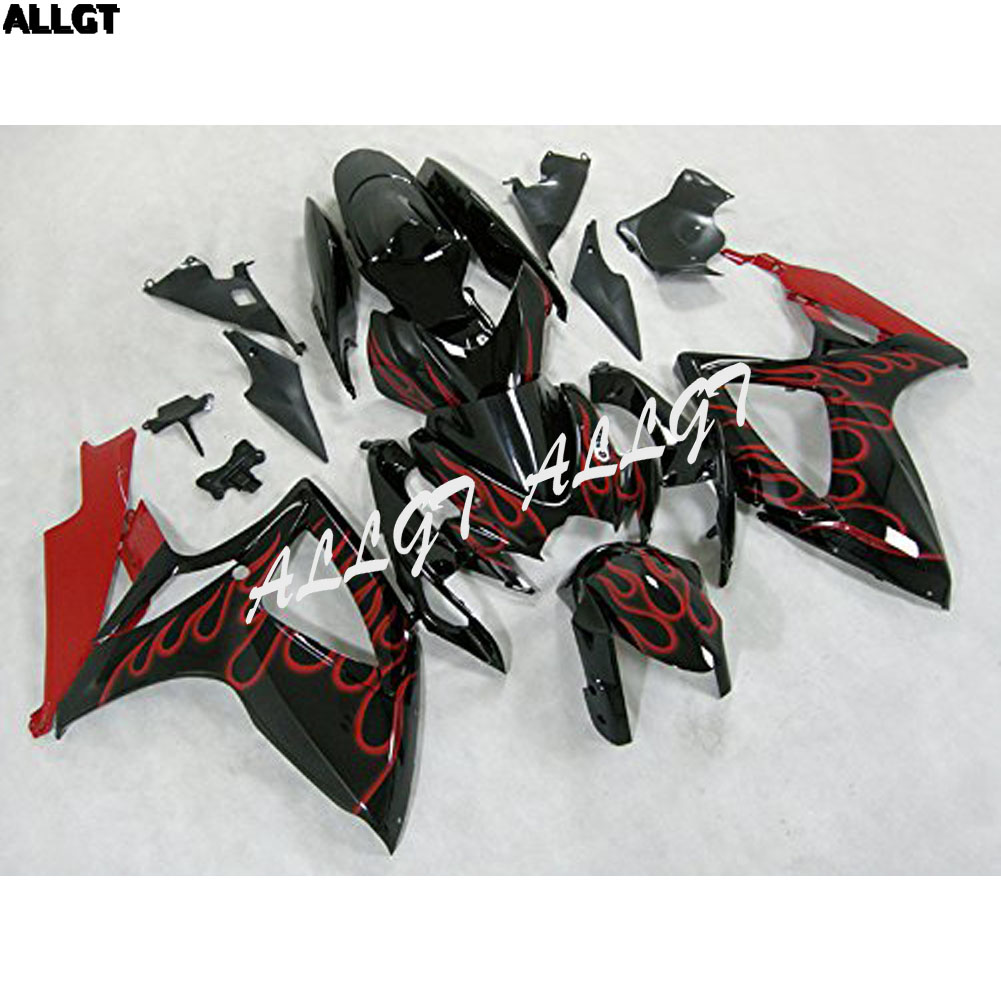 Red Flame Black <font><b>Fairing</b></font> Kits For Suzuki <font><b>GSXR</b></font> <font><b>600</b></font> GSX-R 750 <font><b>2006</b></font> 2007 ABS Injection Mold image