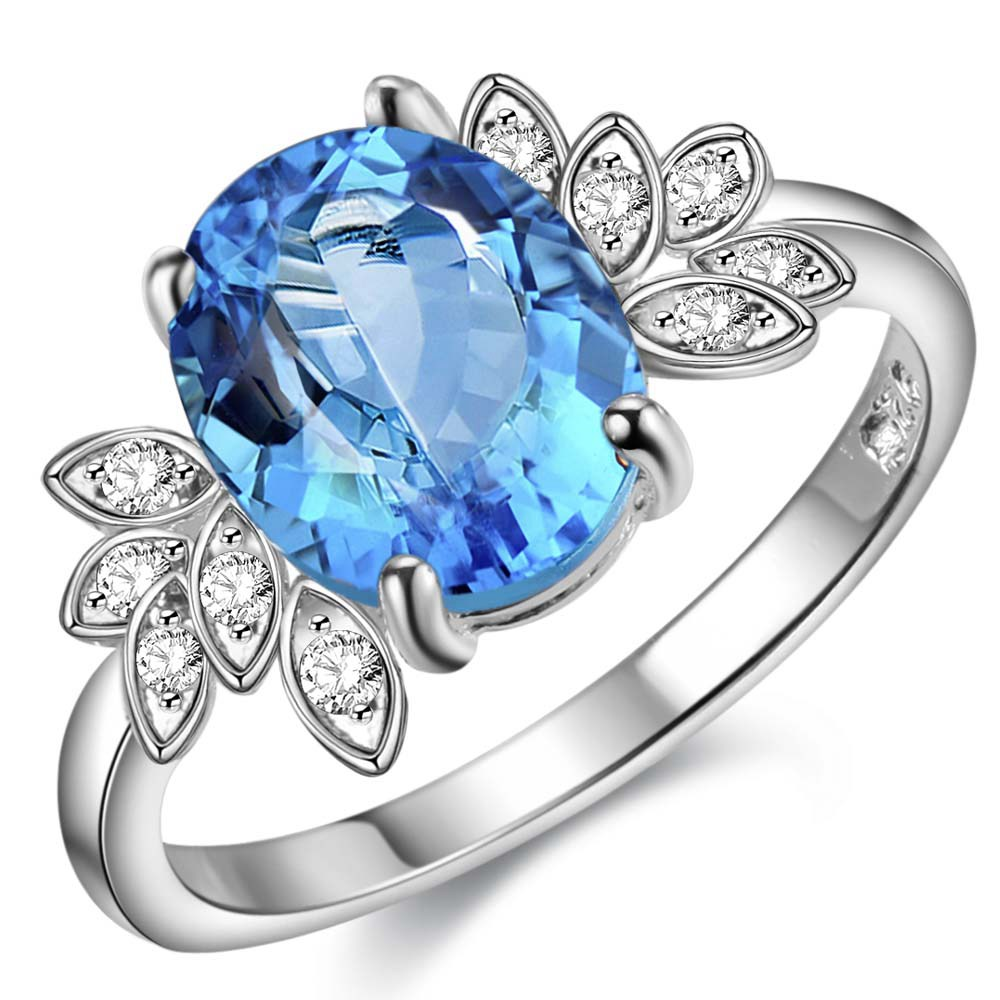 sea blue zircon oval decent Silver plated font b Ring b font Fashion Jewerly font b