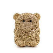 New Animal-shaped Bear Crystal Evening Bags Cute Gold Bear Clutch Bag with Black Crystal Eyes Mini Size Ladies Evening Purse
