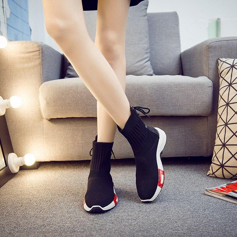 Air Mesh Calcetín Mujer Entrenadores Libre Respirable Zapatos Aire Para De Femeninas Zapatillas 2018 Tobillo blanco Negro Cordón Calzado qCn6O