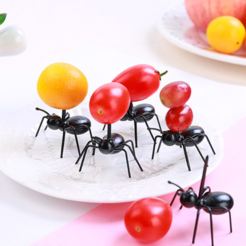 12pcs/set Ant Shape Kitchen Toy Baby Pretend Play Game Cute Fruit Fork Toys For Kids Girl Boy DIY Cake Food Pick Birthday Party