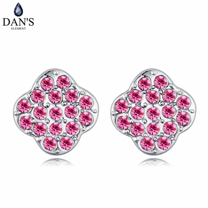 DANS 6 Colors Real Austrian crystals Stud earrings for women Earrings s New Sale Hot Round 128947