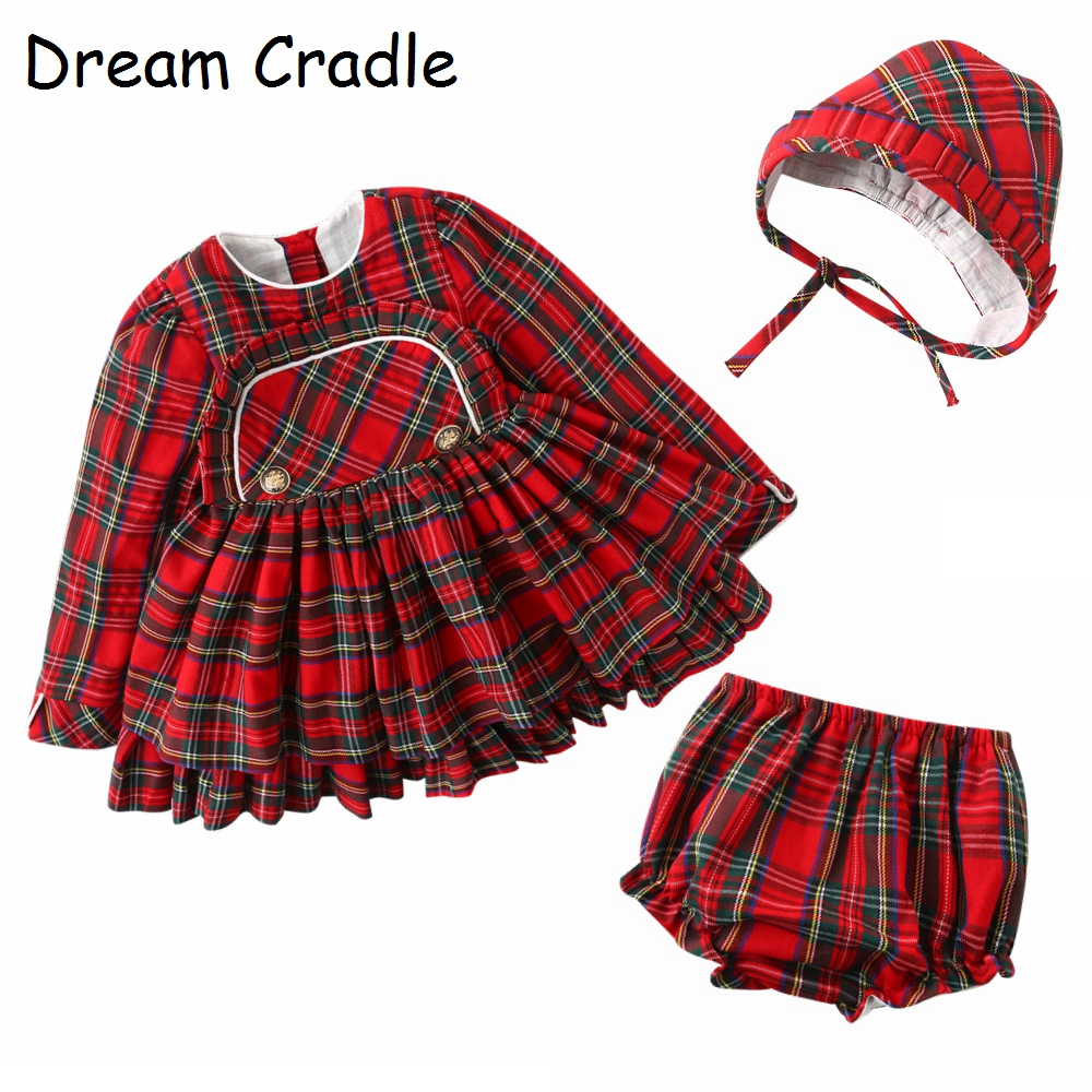 Dream Cradle Spanish Baby Girls Outfit Baby Vintage Tartan Dress Baby Tartan Peplum Set with Bonnet