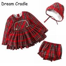 Dream Cradle,Spanish Baby Girls Outfit,Baby Vintage Tartan Dress,Baby Peplum Set with Bonnet