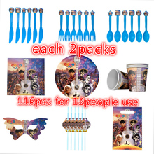 116pcs coco theme paper plate cup gift bag napkin knive spoon mask straw for kids birthday party favors 12people use