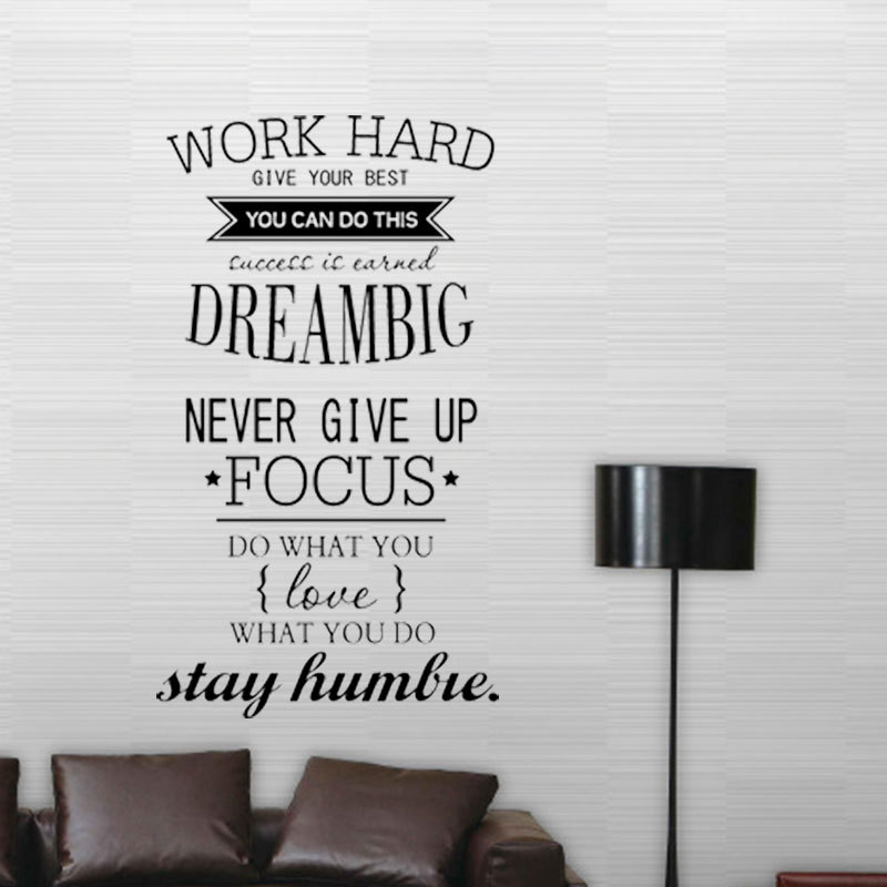 Motivation Wall Decals Office Room Decor Never Give Up Work Hard , Dream  Big Inspirational Quote Wall Stickers Home Decoration In Wall Stickers From  Home ...