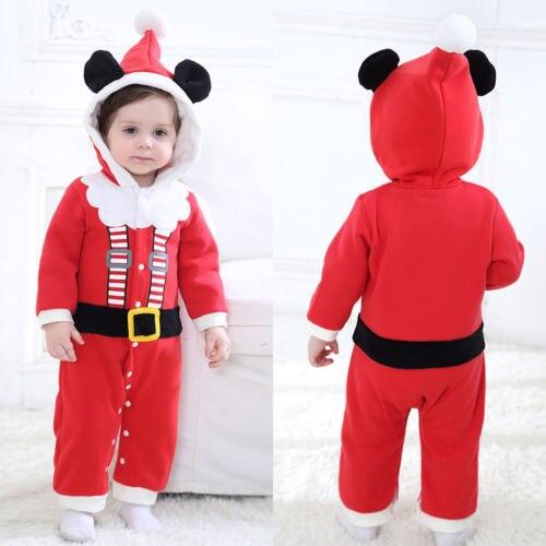 0051833064f78 Kids Baby Santa Costume Clothes Girl Boy 3D Ear Romper Velvet Jumpsuit  Playsuit Outfits