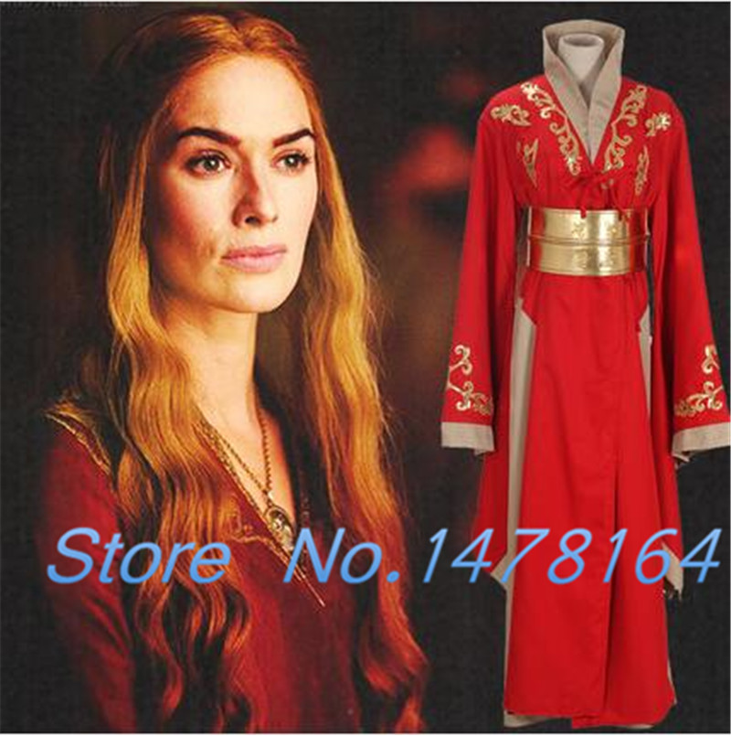 New arrival High Quality Game Of Thrones Queen Cersei Lannister Red Gown Full Dress Robe Cosplay Costumes Any Size Free Shipping
