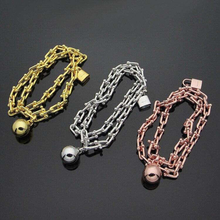 Wholesale trade of titanium steel T letter hot titanium steel ball lock U shaped double bracelet Gold Bracelet for women