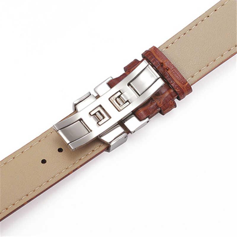 SANWOOD Yeni Izle Siyah Saat Kayışı Deri Kayış saat kayışı 18mm 20mm 22mm Katlanabilir Toka Bileklik Izle Aksesuarları Bilekliği