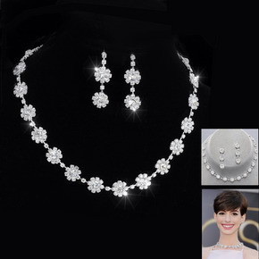 Fashion Silver Tone Crystal Tennis Choker Necklace Set Earrings Factory Price Wedding Bridal Bridesmaid African Jewelry Sets 14
