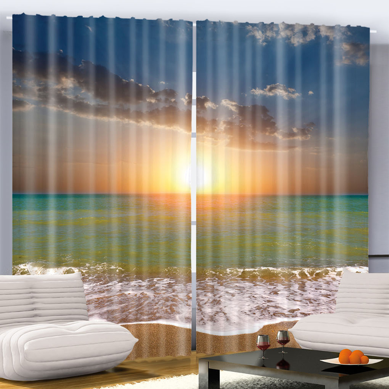 Home sea sunset ocean nautical bedroom living dining room - Grey and yellow living room curtains ...