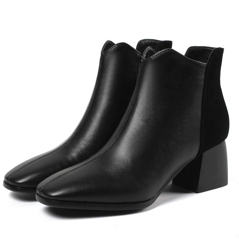 Beige Unies Véritable Mariage Partie black À Bottines Hauts 2018 Cy080 Femme Cuir Enmayer Talons Hiver En Automne De Chaussures ZTqxHRB