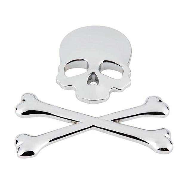 Vorcool baru 3d 3 m tengkorak mobil sepeda motor sticker label logam skeleton crossbones skull emblem