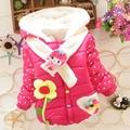 New Baby Girls Jacket Cartoon Sun Flower Cotton Keeping Warm Kids Winter Coat Lovely Hoodies Girls Outwear Chirdren Clothing