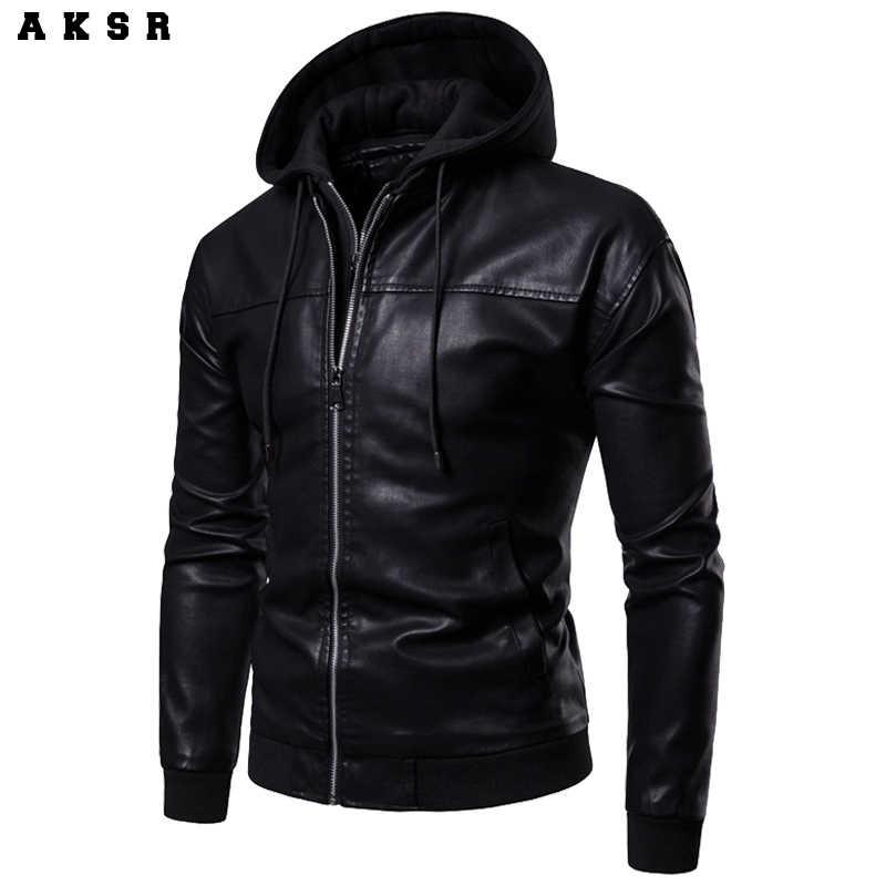 AKSR 新メンズフード付き LeatherJackts ライナー着脱式、ツーピース革ジャケット