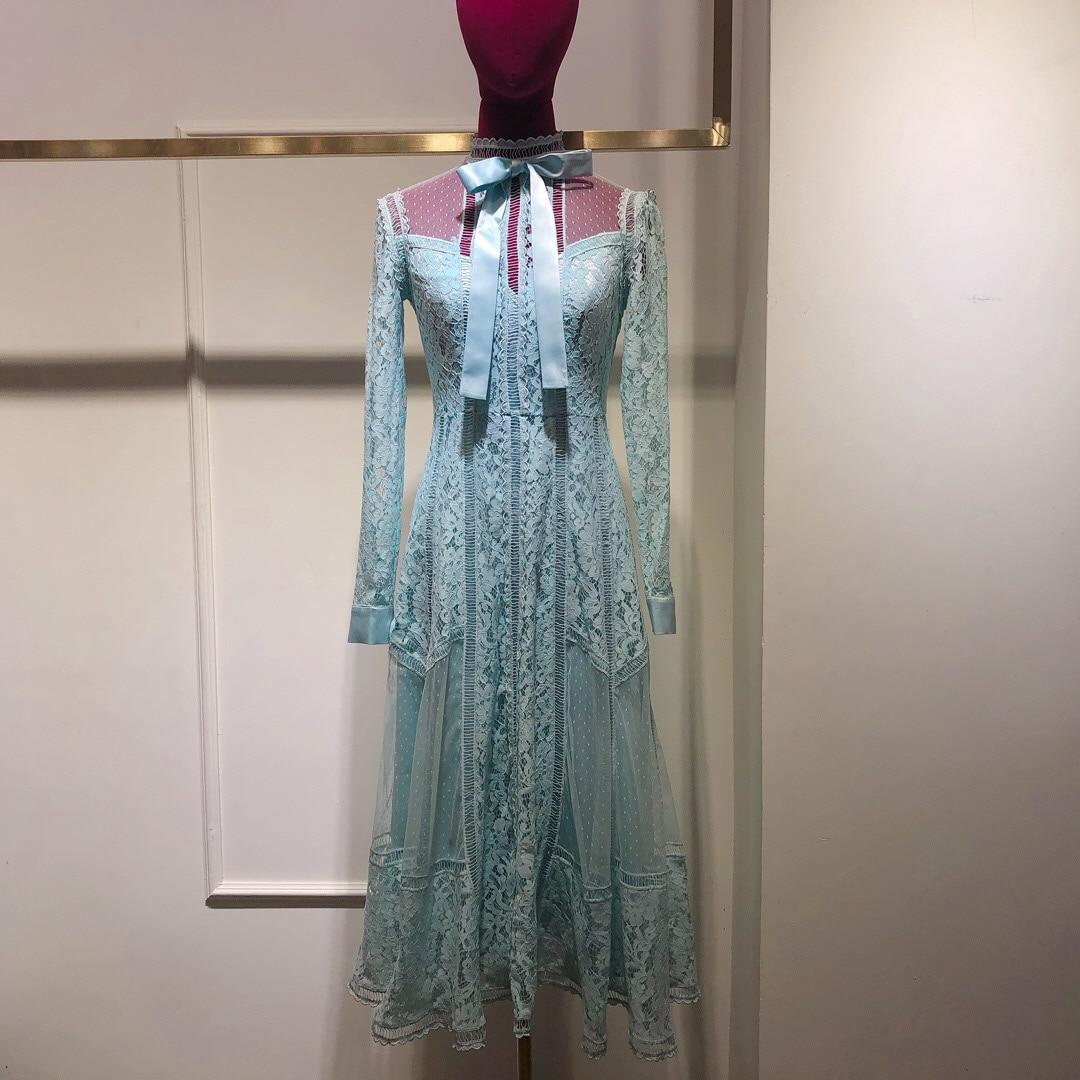 2019 New Fashion Bow Lace Super Luxury Dress Women Free Shipping