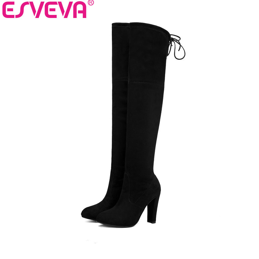 ESVEVA 2017 Sexy Winter Boots Flock Women Boots Over The Knee Boots Square High Heel Ladies Lace Up Fashion Boots Big Size 34-43 enmayer green vintage knight boots for women new big size round toe flock knee high boots square heel fashion winter motorcycle