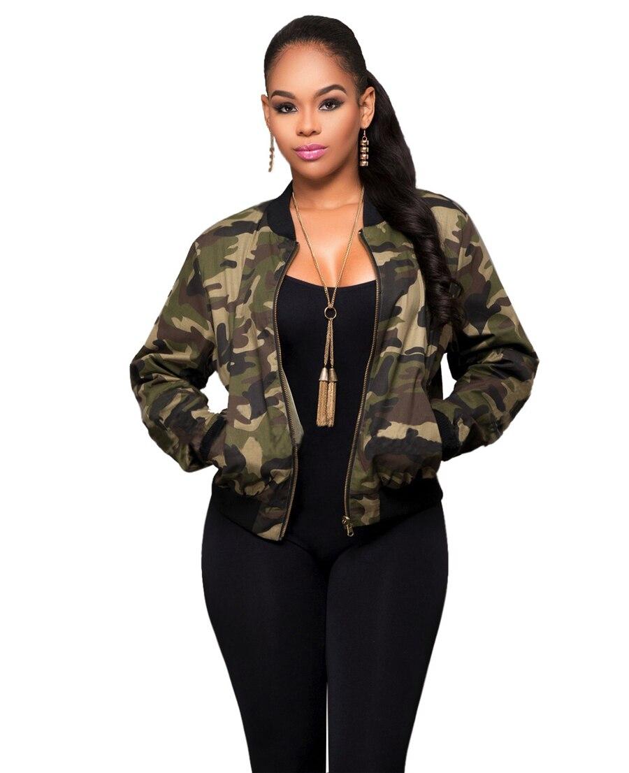 Bomber Jacket Women Otoño Moda Camuflaje Verde Militar Del