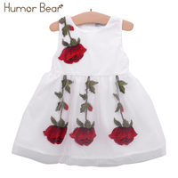 Humor Bear 2017 Baby Girl Dress Birthday Dress Lace Infant Roses Infantil Bowknot Princess Wedding Dress