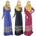 Estampado geométrico mujeres musulmanes vestido de moda o-cuello largo de la manga Sloor-Length elegante para mujer Maxi medio oriente árabe ropa para mujer