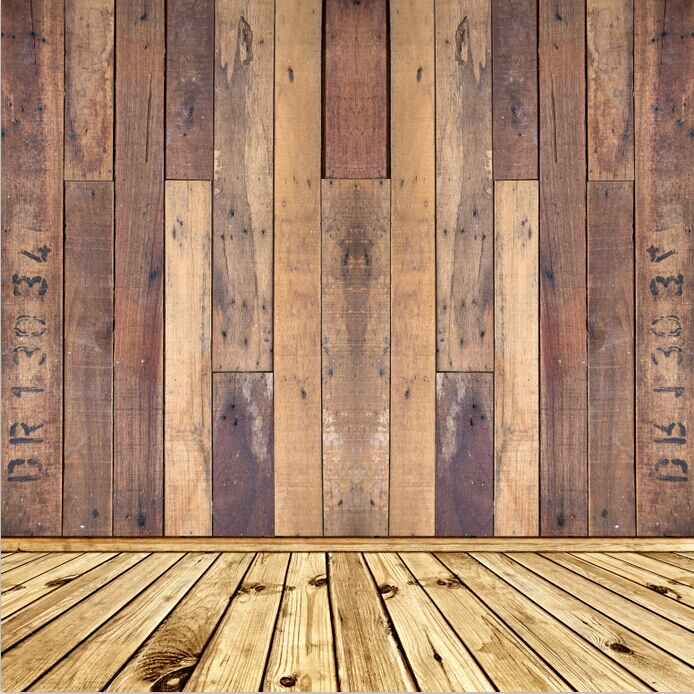 8x15ft Shabby Buff Wooden Pallet Wall Wood Floor Custom