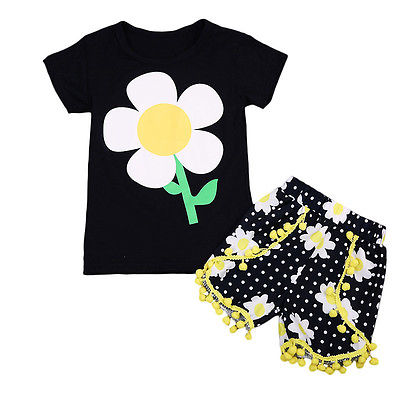 Pudcoco Baby Kids Girls Clothes Set Summer Sunflower T-shirt Tops+Tassel Shorts Pants Girls Boutique Outfits Birthday Gift baby kids baseball season clothes baby girls love baseball clothing girls summer boutique baseball outfits with accessories