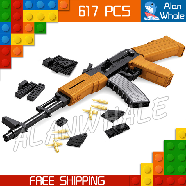 617pcs New Model Ak47 Toy Gun Weapon For Military Assault Soldiers