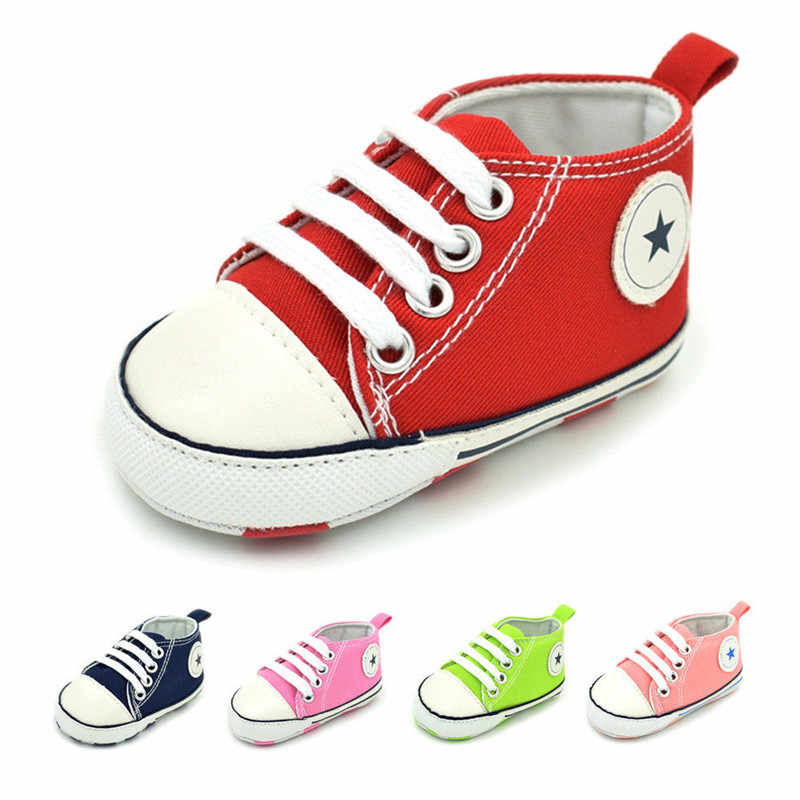 Infant Newborn Baby Boy Girl Soft Sole Canvas Pram Shoes Star Casual Shoes Trainers 0-18 Months