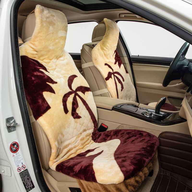 1 pcs coconut tree one front faux fur car seat covers car interior accessories keep warm yellow. Black Bedroom Furniture Sets. Home Design Ideas