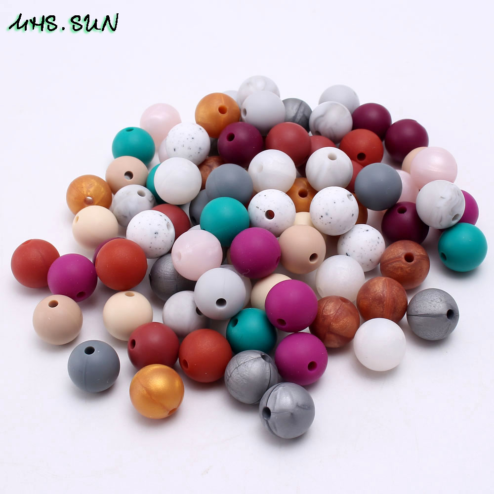 MHS.SUN 50Pcs Baby silicone round beads teething chewable teethers for pacifier chain safe toys necklace BPA free jewelry