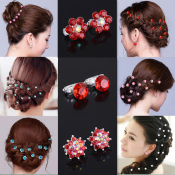 10 sztuk kryształowe ślubne ślubne wsuwki do włosów kwiat klip spinki do włosów stroik dekoracji biżuteria akcesoria tanie i dobre opinie Hairwear Moda Kobiety Pinksee Star TRENDY Ze stopu cynku Metal Tiary Crystal Party gift wedding anniversary engagement Women Girl Lady Bride