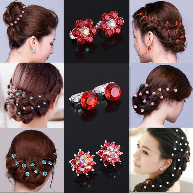 10pcs crystal wedding bridal hair pins flower clip hairpins headdress decoration fashion jewelry accessories in hair jewelry from jewelry accessories on