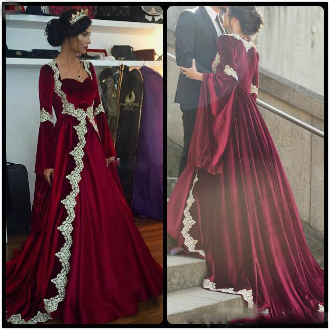 2017 Vintage Burgundy Velvet Muslim Wedding Dresses With Liques Lace Long Sleeves Plus Size Vestidos De Novia Bridal Gowns In From